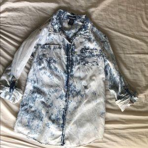 Button up faux denim shirt